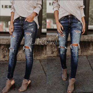 Distressed Denim Ripped Skinny Jeans 0-15